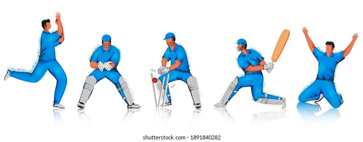 Cartoon Cricket Players Team In Different Pose With Noise Effect On White Background.