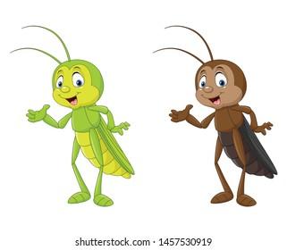 Cartoon cricket presenting illustration collections