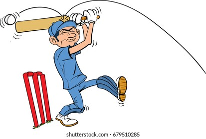 Cartoon cricketer hit on the head by ball