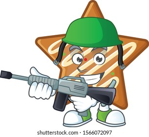 Cartoon crispy star cookies with the character army