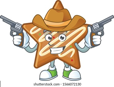Cartoon crispy star cookies with the character cowboy