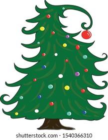 Cartoon Cristmas tree, vector file