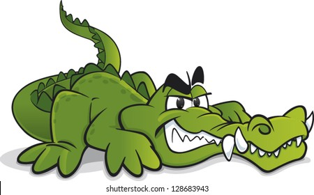 Cartoon crocodile with big teeth