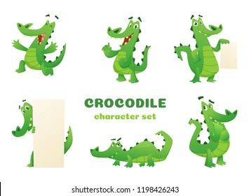 Cartoon crocodile characters. Alligator wild amphibian reptile green big animals vector mascots designs in various poses. Alligator animal, reptile green illustration