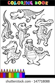 Cartoon Crocodile For Coloring Book Illustrations Children