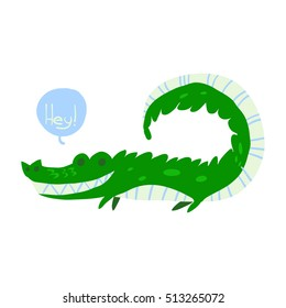 Cartoon crocodile flat mascot icon. The vector illustration for ui, web games, tablets, wallpapers, and patterns.