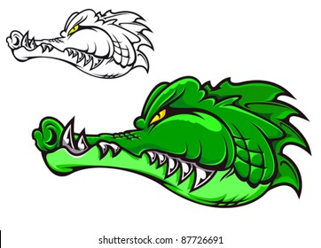 Cartoon crocodile head for tattoo or mascot design, such a logo. Rasterized version also available in gallery
