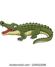 Cartoon crocodile with open mouth