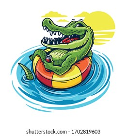 cartoon crocodile swimming with beer