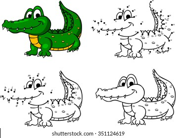 Cartoon crocodile. Vector illustration. Coloring and dot to dot educational game for kids