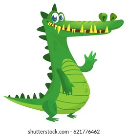 Cartoon crocodile. Vector raptor character illustration isolated