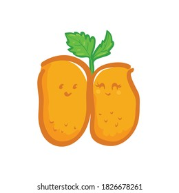Cartoon croquettes cute is...ed on white background with celery leaf