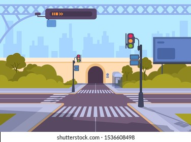 Cartoon crosswalk. City streets intersections with no automobile traffic and pedestrians, urban landscape with crosswalk. Vector illustration empty crossing roads against background of tunnel