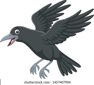Cartoon crow flying isolated on white background