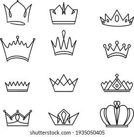 Cartoon crown doodle set wings for decoration design. Vector pattern. Decorative element. Animal pattern. Vector decorative object. Vector background. Vector set. Nature art.