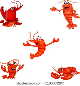 Cartoon crustacean collection set