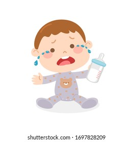 Cartoon cry baby character vector
