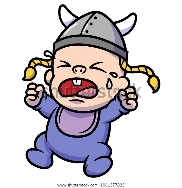 Cartoon Crying Baby Viking Stock Vector Royalty Free 1061377823