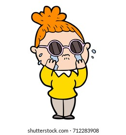 cartoon crying woman wearing spectacles