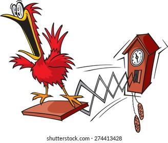 A cartoon cuckoo clock. layered vector and high resolution jpeg. Cuckoo Clock.