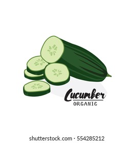 Cartoon  cucumber. Ripe green vegetable. Vegetarian delicious. Eco organic food.  Flat vector design, isolated on white background.