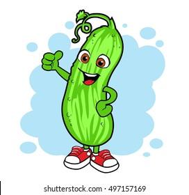 Cartoon cucumber. Vector mascot.