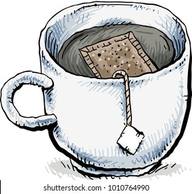 A cartoon of a cup of tea in a white mug with a tea bag steeping inside the water.