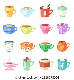 Cartoon cup vector kids mugs hot coffee or tea cupful on breakfast and various shapes of coffeecup illustration set of Christmas mugful morning beverage teacup isolated on white background