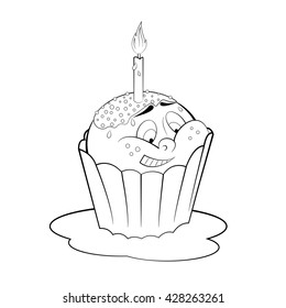 Cartoon Cupcake Candle Coloring Page Stock Vector 428263261 ...