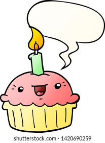 cartoon cupcake with candle with speech bubble in smooth gradient style