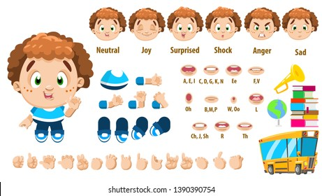 Cartoon curly boy constructor for animation. Parts of body: legs, arms, face emotions, hands gestures, lips sync. Full length, front, three quarter view. Set of ready to use poses, objects.