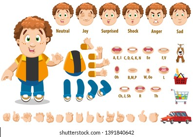 Cartoon curly redheaded man constructor for animation. Parts of body: legs, arms, face emotions, hands gestures, lips sync. Full length, front, three quater view. Set of ready to use poses, objects.