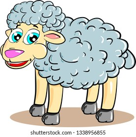 Cartoon curly sheep smiling on white background. Vector illustration.