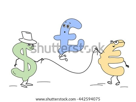 Cartoon Currency Jumps Symbols Dollar Euro Stock Vector Royalty