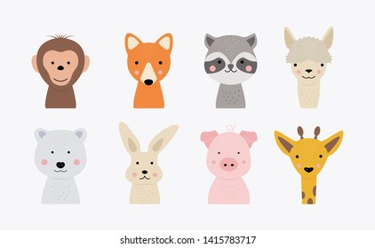 Cartoon cute animal faces. Hand drawn characters for baby card and invitation. Vector monkey, fox, bunny, giraffe, bear, pig, racoon, llama