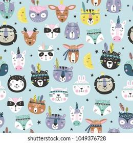 Cartoon cute animal tribal faces. Boho cute animals vector pattern.