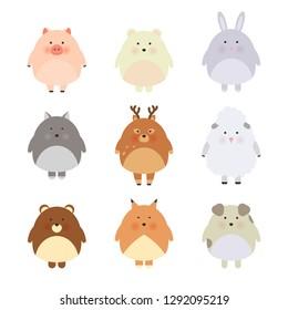 Cartoon cute animals for baby card and invitation. Vector illustration. Pig, bear, polar bear, sheep, dog, fox, wolf, deer, rabbit. Cool and lovely illustration, simple child design