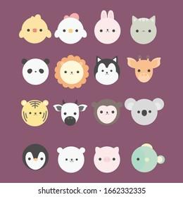 Cartoon cute animals for baby card and invitation. Vector illustration. Duck, chicken, rabbit, cat, panda, lion,  Siberian husky, giraffe, tiger, cow, koala, Penguin, Bear white, pig, fish