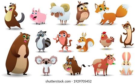 Cartoon cute animals collection. Vector illustration