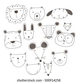 Cartoon cute animals many a highlight.Vector illustration of animal faces