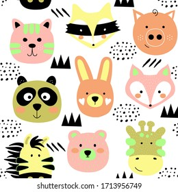 Cartoon cute animals seamless pattern. Scandinavian kids texture for fabric, wrapping, textile, wallpaper, apparel.  Multicolor vector illustration print isolated on white background.