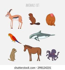 Cartoon cute Animals vector set. Hand-drawn style. Stickers, posters, background. Antelope, beaver, monkey, parrot, vaquita, gopher, horse, octopus