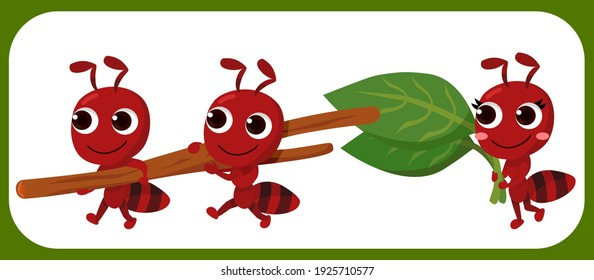 Cartoon cute ant set. Ant carrying rock. Ant with pickaxe. Vector illustration isolated.