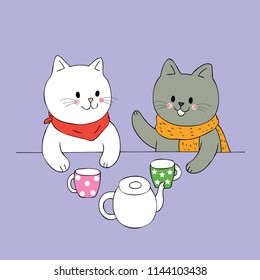 Cartoon cute Autumn white cat and black cat talking and drinking coffee vector.