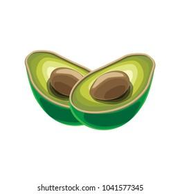 Cartoon Cute Avocado Icon Vector Set