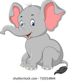 Cartoon cute baby elephant sitting