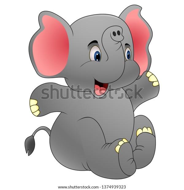 Cartoon Cute Baby Elephant Sitting Stock Vector Royalty Free 1374939323