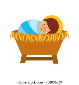 cartoon cute baby jesus christ in the crib christmas image