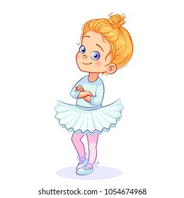 Cartoon cute ballerina girl stands in a confident pose, arms crossed over her chest. Little girl ballet dancer in a white tutu and pointe shoes. Colorful vector isolated kids illustration.