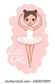 Cartoon cute ballerina. Hand drawn beautiful little girl.  Vector illustration